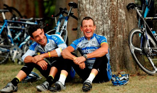George Hincapie and Lance Armstrong