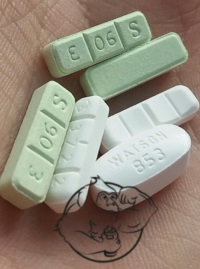 Xanax and Hydrocodone tablets